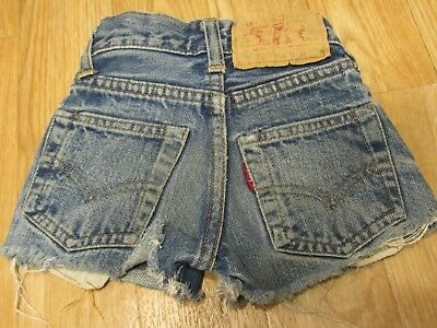 "Vintage Levis 302 Big E kids denim jeans shorts 15"" waist #9"