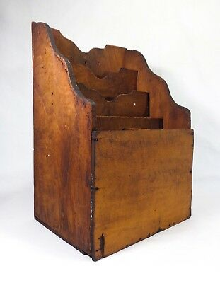 Late 19Th-Early 20Th C Antique Pine Wood Slotted Paper Filer, W/Scrolled Edges
