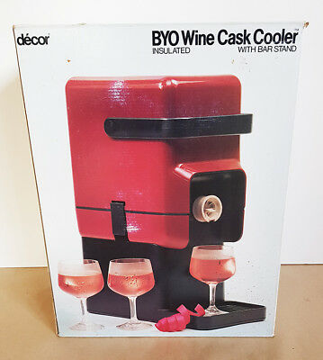Decor Wine Cask Cooler Brand New Unused Red 1980's