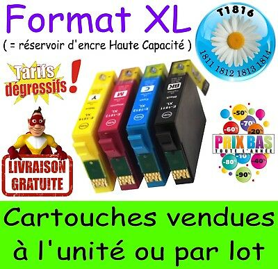 Lot de 4 cartouches d'encre compatible T18 XL nonOEM EPSON Expression Home XP325