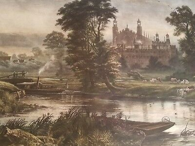 1888 ETON FROM THAMES LARGE RARE ANTIQUE PRINT 39 3/4 x 30 1/2 INCHES COLORED
