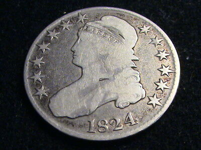 1824 Capped Bust Silver Half, full date, almost full liberty     H849