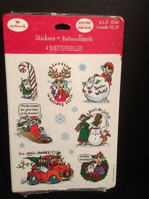 Hallmark MAXINE Christmas stickers NEW Unopened Autocollants 4 sheets in package