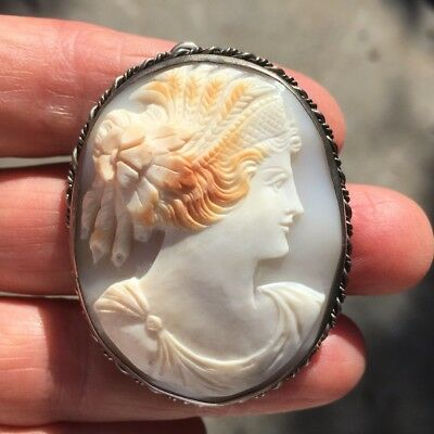 Antique Silver Carved Shell Cameo Pendant Brooch Estate Find