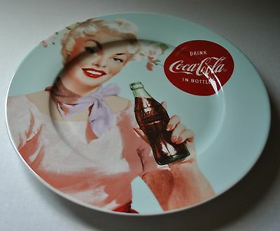 "NEW DRINK COCA-COLA IN BOTTLES DINNER Plate 10"" Retro Girl BLONDE Advertising"