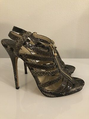 f5abf3a247c05 JIMMY CHOO BROWN Iridescent Cage Zip Glenys Snakeskin Heels 37.5 (US ...