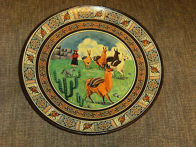 Handmade in Peru Painted Clay Peruvian Plate~Signed~Girl with Llamas~Pisac