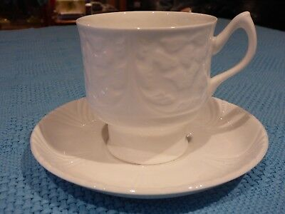 Crown Staffordshire England Cup Saucer Duo White Embossed Fine Bone China