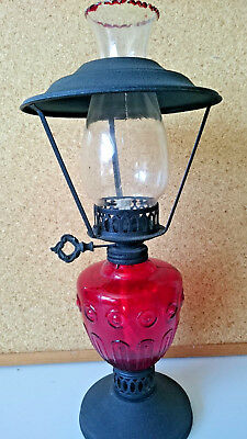 Oil Lamp with Ruby Red Glass & Metal Base with single wick