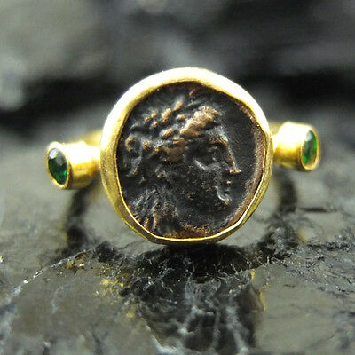 Handmade Hammered Roman Coin Ring With Emerald Gold over 925 Sterling Silver