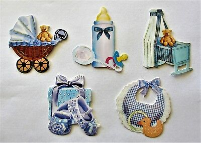 3D Easy Die Cut Card TOPPERS Baby Boy Pram Bottle Cradle Booties Bib Type 4