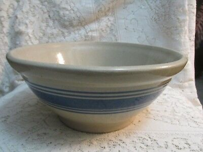 Vintage Blue Stripe Crock Stoneware Mixing Bowl