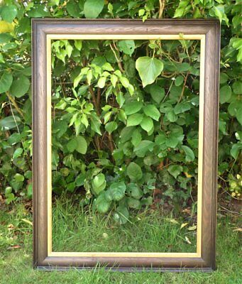 Large Antique Vintage Wooden Oak Picture Frame With Inner Slip * Painting Photo