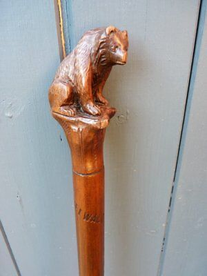 Vintage Black Forest ? Carved Wooden Bear Walking Stick Perfect For Display