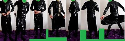langer Latex Mantel schwarz Trenchcoat unisex Gr.L-XL geklebt Neuw fetish rubber