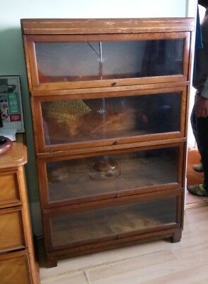 PAIR of vintage Globe Wernicke 4-tier oak bookcases - DELIVERY POSSIBLE