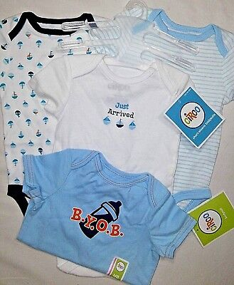 6fb6b7102 NWT Baby Boy 0 3 Mos CIRCO Bodysuit Lot Sailboats Just Arrived BYOB Blue  Target