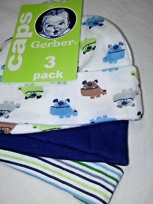 NWT Baby Boy Puppy Dog 0 3 6 Mos GERBER Caps Hats 3pc NEW