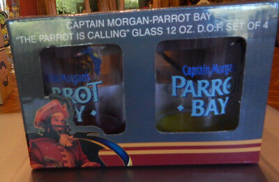Captain Morgan-Parrot Bay Set of 4 12oz Glasses