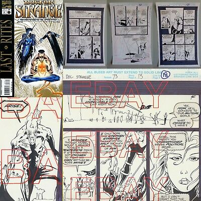 1995 ORIGINAL ARTWORK  Marvel comics 3 pages DOCTOR STRANGE SORCERER SUPREME