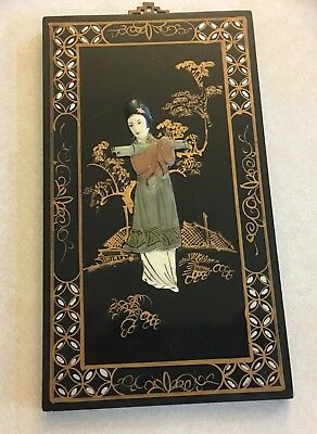 Vintage Japanese Laquer Wall Hanging Picture Geisha Raised Hand Carved & Paint