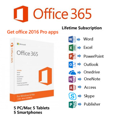 Microsoft Office 365 Account Lifetime 5 PCS Office 2016 Pro Apps 5 TB Onedrive