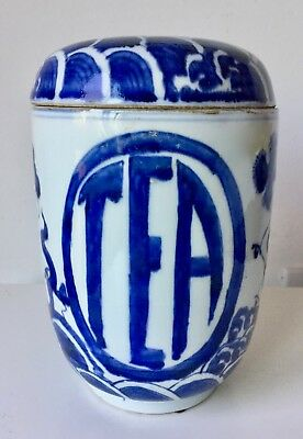 Antique Chinese Canton/export Blue & White Tea Canister Jar