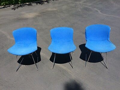 MCM vintage Harry Bertoia Knoll Authentic Chrome Coated Metal Wire Chairs Blue