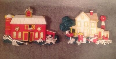 Vintage Set of 1975 HOMCO Resin Wall Plaques Red Barn 7369 A & Farm House 7369 B