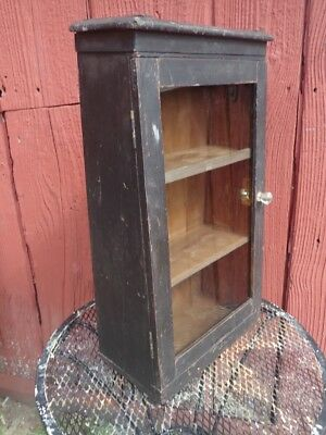 Antique 19thc Curio Cabinet Counter Wall Mount Kitchen