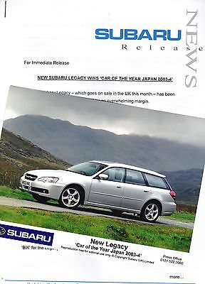 """Official SUBARU Press Release and Photo for the """"Car of the Year Japan 2003-04"""""""