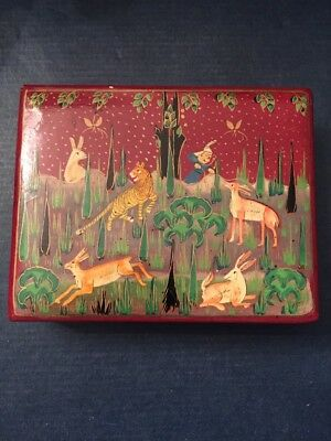 Old Antique India Wooden Hand Crafted Lacquer Hand Painting Islamic Kashmir Box