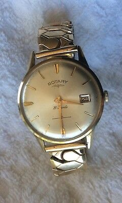 Solid Gold Gents Wristwatch By Rotary With Date. Full Working Order