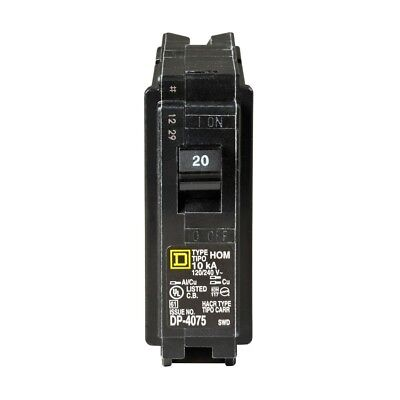 Homeline 20 Amp Single-Pole Circuit Breaker Square D by Schneider Residential