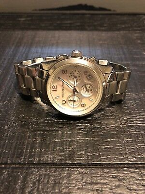 1e5bc3fcd9a17 Michael Kors Mother of Pearl Chronograph Stainless Womens Watch MK5304  Pre-owned