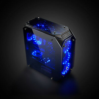 Black USB3.0 Blue LED Tempered Glass Full Tower Gaming Case without PSU