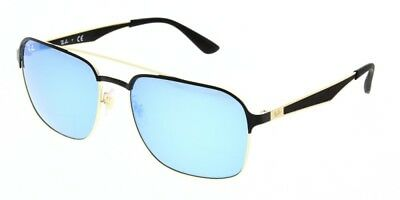 5af7246ecf Ray-Ban Rectangle Aviator Sunglasses Black Gold Blue Mirror Rb3570 187 55  New 58