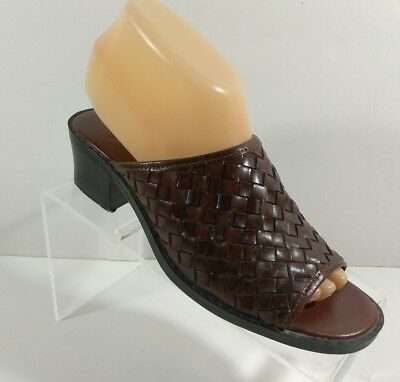 a135ff5c8d4 The Leather Collection Brown Block Heel Sandals Women's Size 7.5
