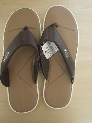 042607bcc3c3ac Lacoste Men Brown and White Flip Flops Size 11