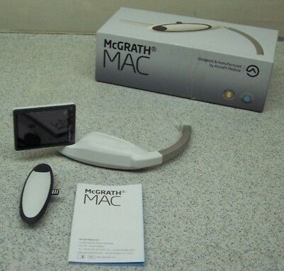 McGRATH MAC video laryngoscope (new, never used) with disposable blades.