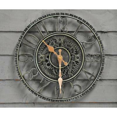 Round Wall Mounted Battery Operated Clock Garden Feature And Home Decor New