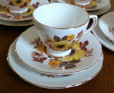 Royal Sutherland Bone China Vintage Yellow Floral Cup Saucer And Plate Set #4