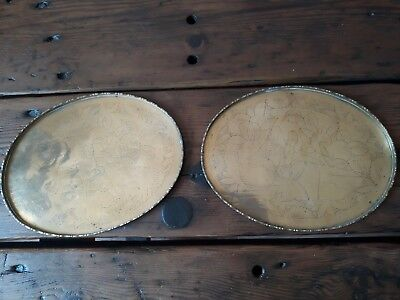 "Two 10.5"" Solid Brass Chinese Etched Trays Seated Figures"