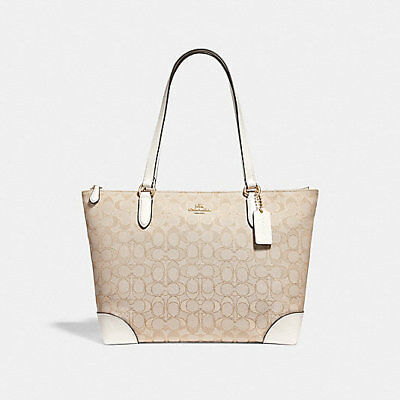 Coach Zip Top Tote in Signature Jacquard Shoulder Bag F29958 MSRP  250 NWT 18dfc8ee0af21