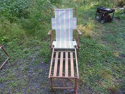 Antique Wooden Fold Up Beach Chair With Foot Rest ~ Adjustable