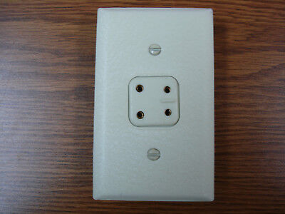 Vintage Telephone Phone Jack Plate 4 Prong Metal Cover Wall Plate Ivory
