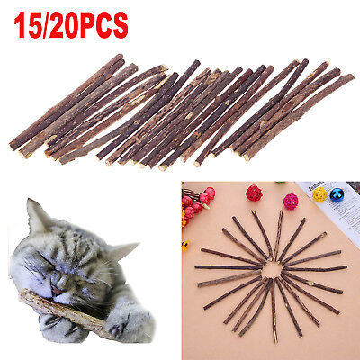 15/20pcs Cat Snack Matatabi Chew Catnip Stick Teeth Molar Cleaning Brush Pet Toy