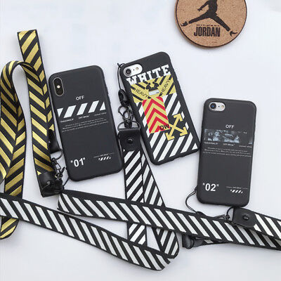 0e4e9efe787840 OFF WHITE Case Silicone Protection Soft Cover Lanyard For iPhone 6 6S 7 8  Plus X