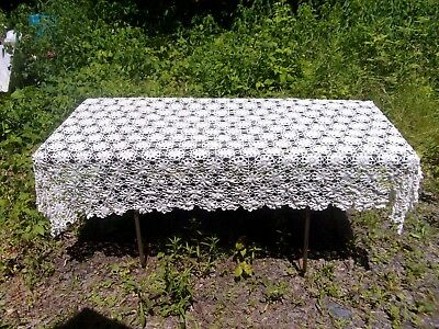 Antique Handmade Tablecloth With Flowers ~ No Damage Or Stains ~ White