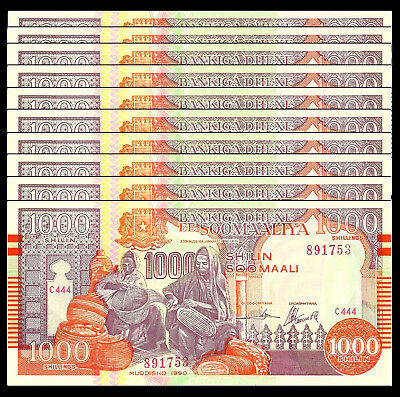 Somalia 1000 Shillings 1990 P R10 Unc (10 Notes)